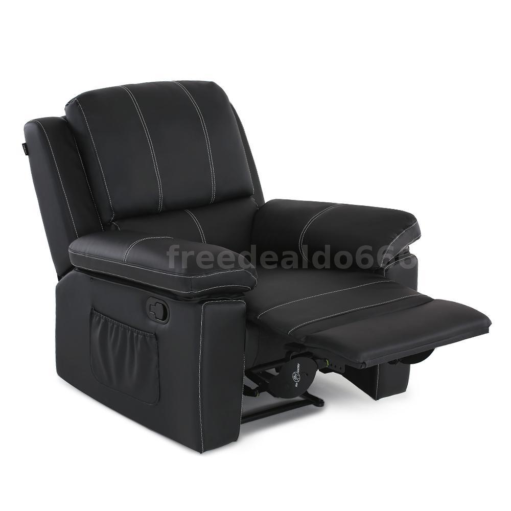 Black Leather Cinema Electric Massage Rocking Swivel